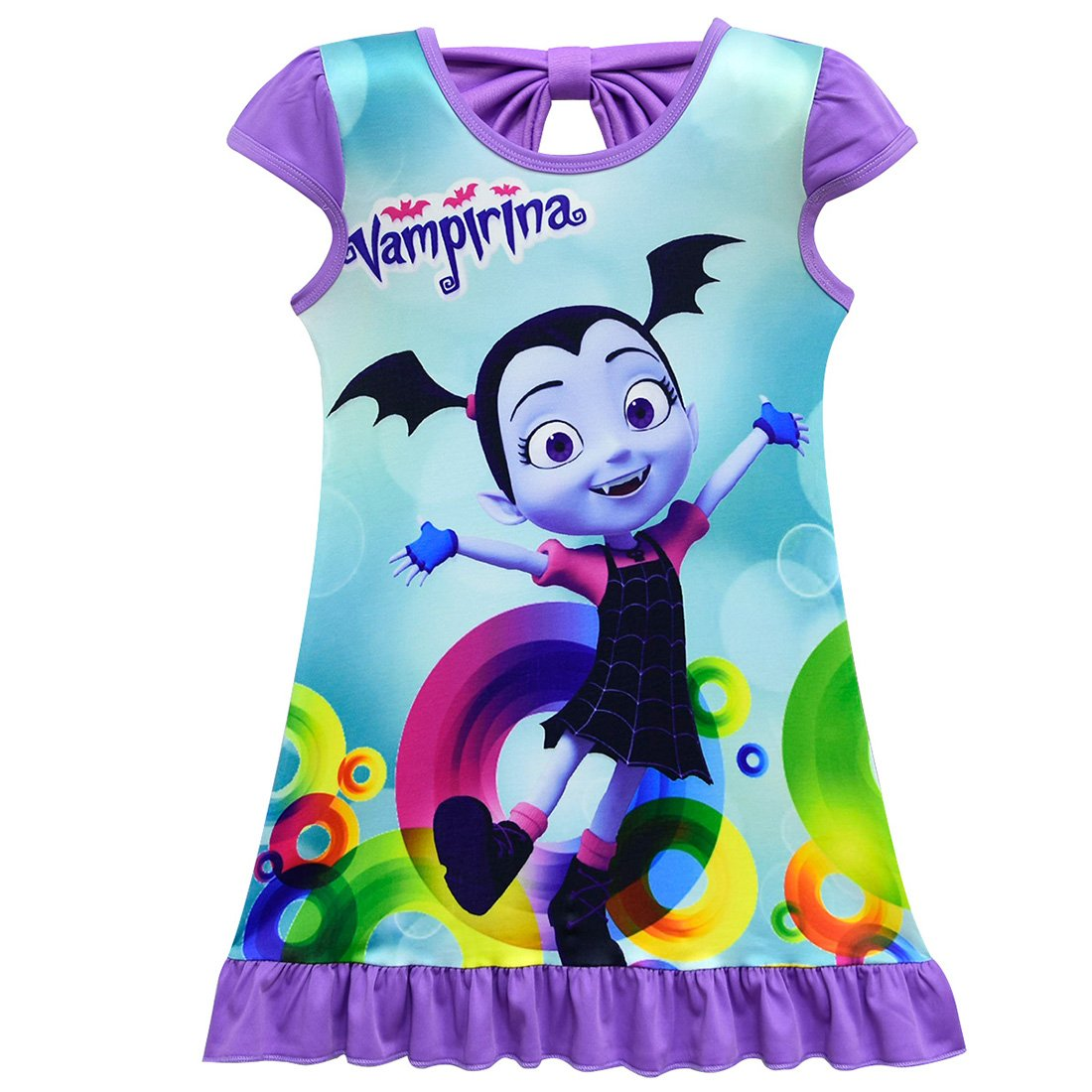 ZHBNN Vampirina Toddler Girls Summer Nightgown Pajamas Party dress(Purple,110/4-5Y)