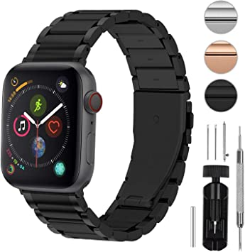 Fullmosa 3 Colores Correa de Acero Inoxidable Compatible con Apple Watch Series 5/4/3/2/1, LUS Series Pulsera Metálica para iWatch 38mm 42mm 40mm 44mm, Negro 44mm: Amazon.es: Electrónica