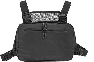 SODIAL Schwarz Brust Takelage Taschen Gürtel Tasche Hip Hop Streetwear Funktionelle Brust Tasche Kreuz Umh?ngetaschen
