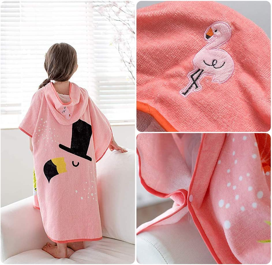Toddler Hooded Beach Towel,Pink Unicorn Pattern for 6 Years Old or Older Children,Kids Swim//Beach//Shower Towel Cutie Coverup Poncho Cape,Super-Absorbent for Girls