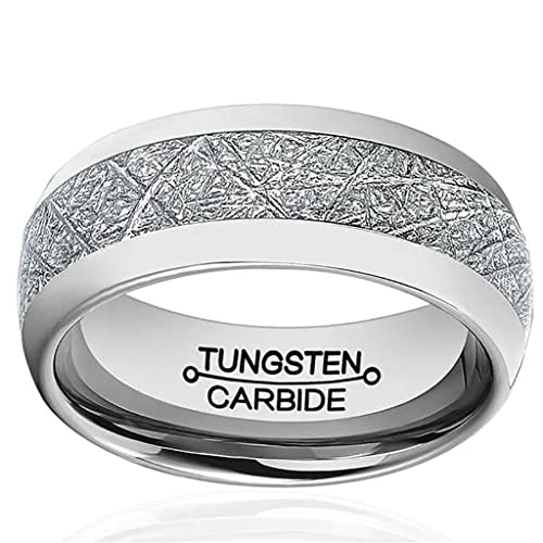 Jewellery Men Mens/Unisex 8mm Meteorite Inlay Tungsten Wedding Promise Band Ring