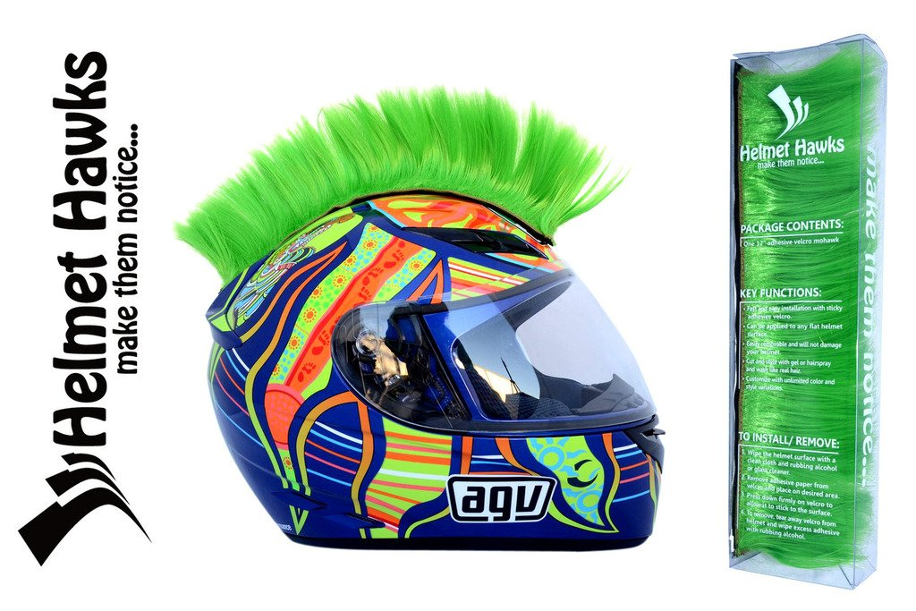 Helmet Hawks Motorcycle Helmet Mohawk w/Sticky Velcro Adhesive - Fluorescent Lime Green