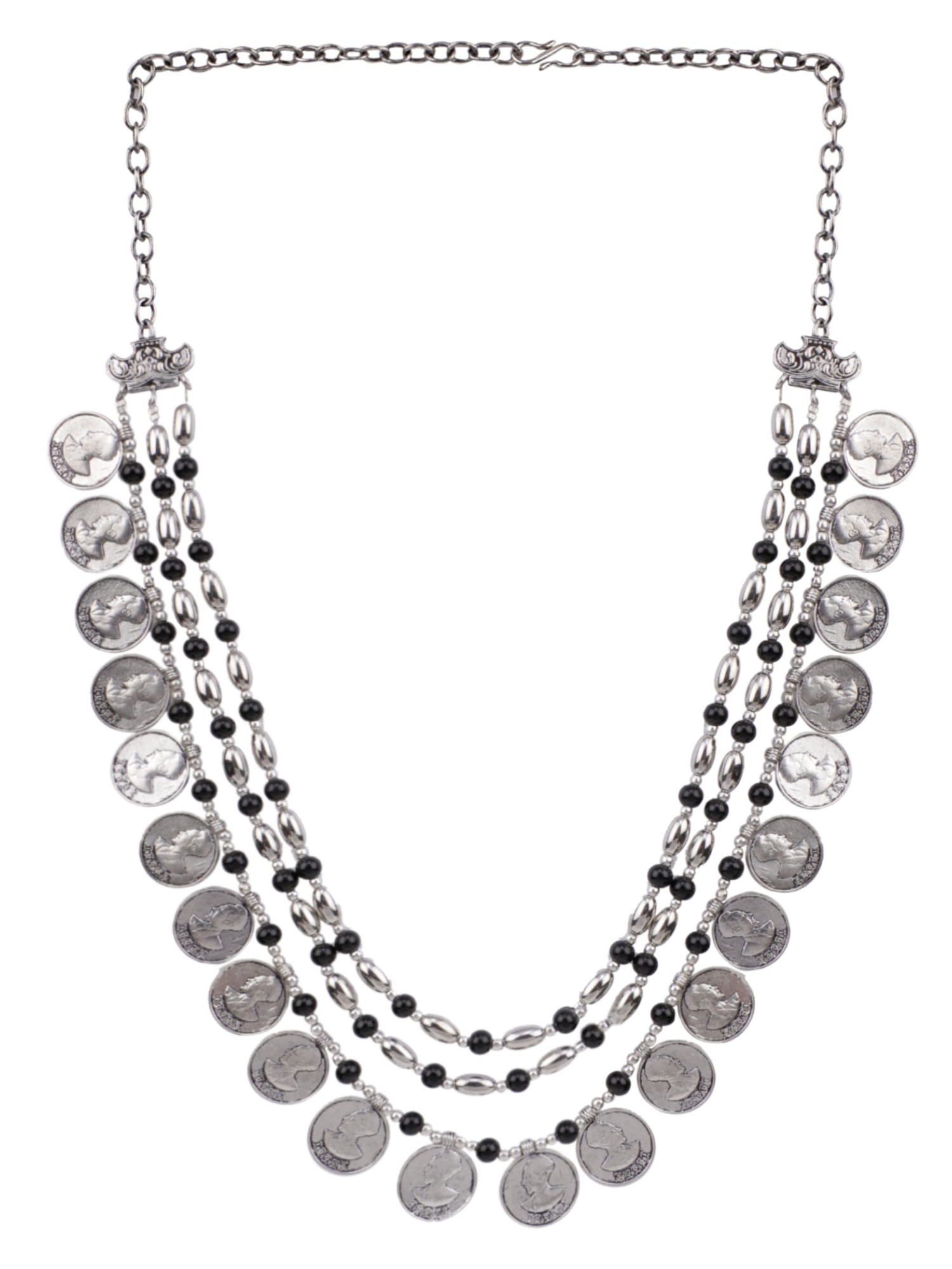 Efulgenz Multilayered Coin Boho Vintage Antique Ethnic Gypsy Tribal Indian Oxidized Silver Beaded Tassels Statement Necklace Jewelry