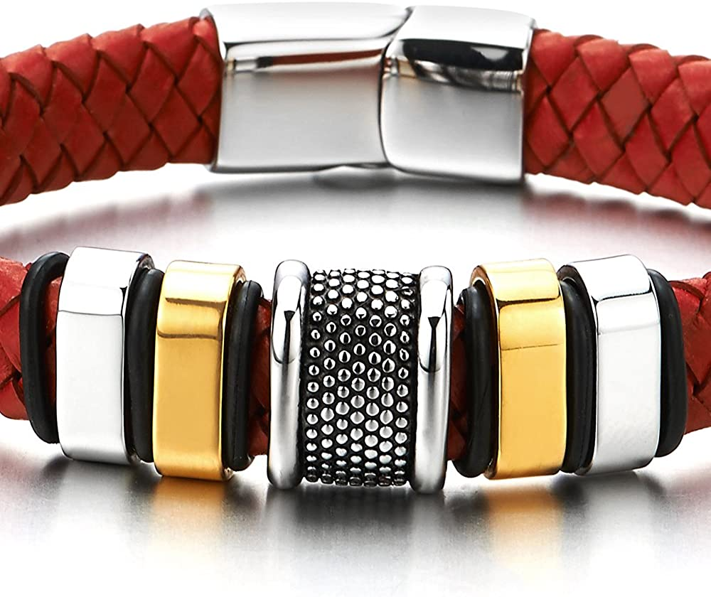 Charmes Acier Inoxydable V/éritable Cuir COOLSTEELANDBEYOND Homme Bracelet en Rouge Cuir Entrelac/é Fermoir Magn/étique