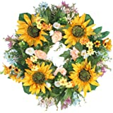 "Emlyn Rose Decorative Sunflower 18"" Summer Wreath for Front Door or Indoor Wall Décor to Celebrate Spring Summer & Fall Season"