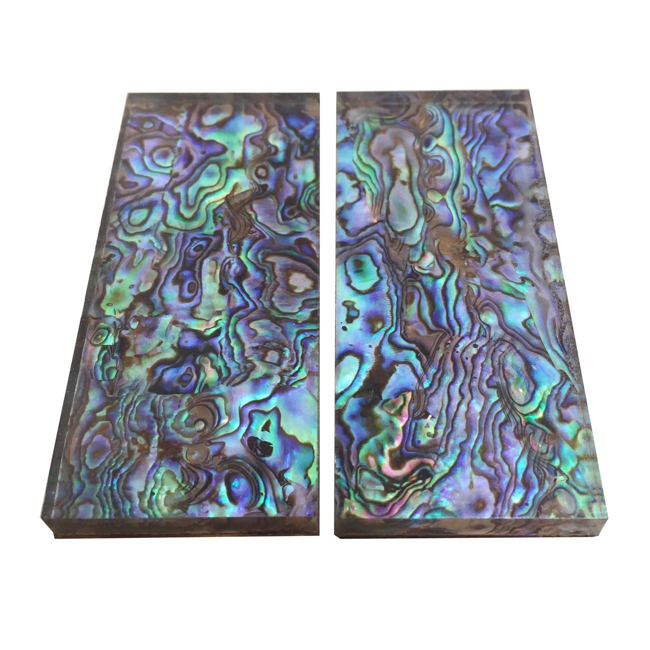 1Pair Natural Pura Abalone Shell Knife Handle Inlay Material Scale Blank Grip Sheet - 33x78x6mm