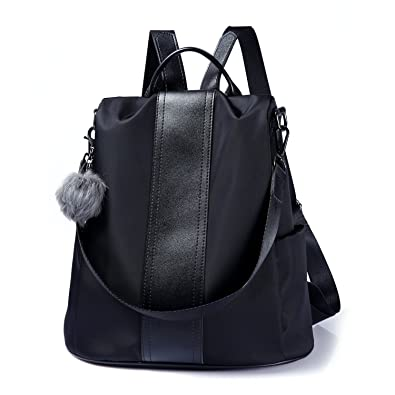 b2368fcaa Amazon.com: Women Backpack Purse Waterproof Nylon Anti-theft Rucksack  Lightweight Shoulder Bag (Black): Shoes