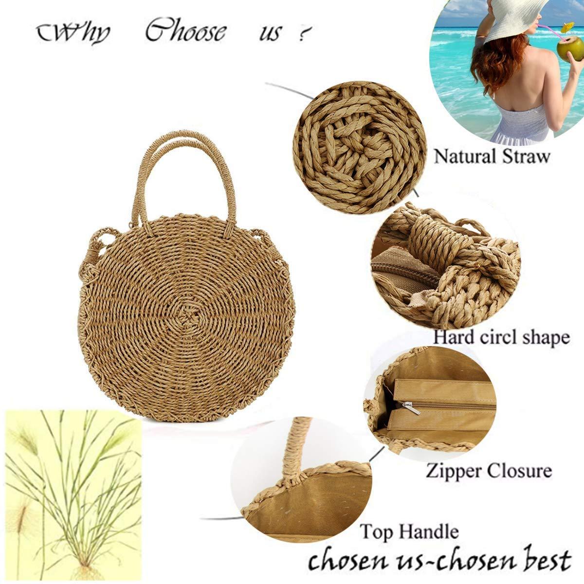SHUIBIAN Stroh Crossbody Tasche Frauen Weben Umh/ängetasche Runde Sommer Strand Geldb/örse und Handtaschen