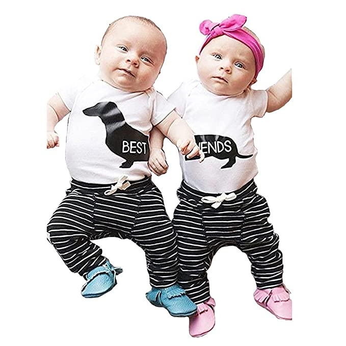 609578f91 Collager Newborn Baby Boys Girls Clothes Set Short Sleeve Best Friends T- Shirt Pants Outfit