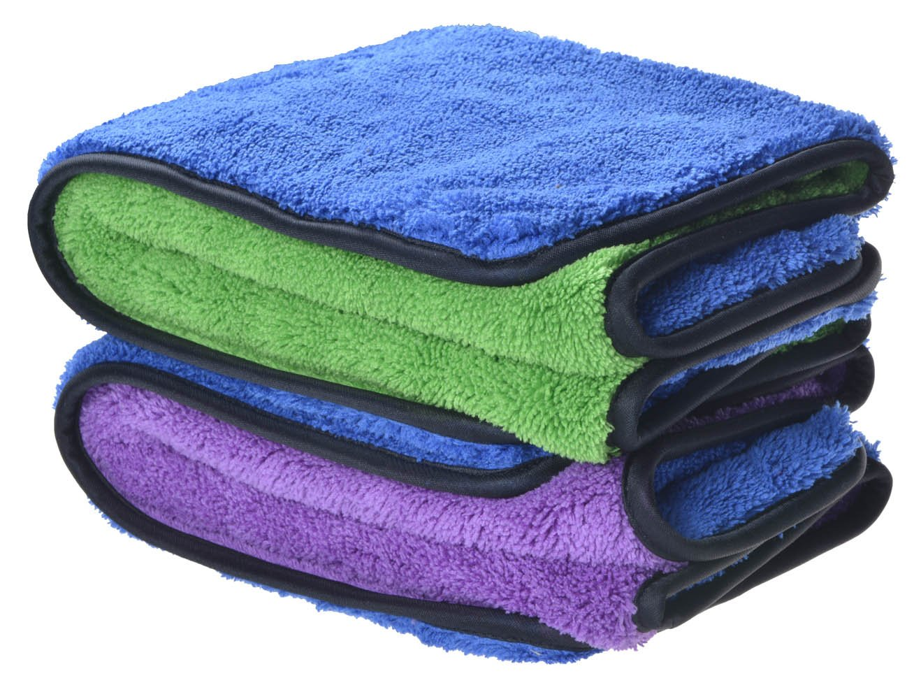 Sinland Ultra Thick Plush Microfiber Car Cleaning Towels Buffing Cloths Drying Towel 16Inch x 24Inch 2 Pack (blue/purple+blue/green)) product image