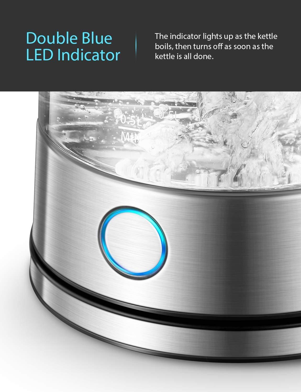 2200W Hervidor con LED Azul Protecci/ón de Apagado autom/ático Hervidor de Agua el/éctrico de 1.7L con Tapa Abierta de un Solo Toque PHONECT Hervidor el/éctrico Hervidor de Vidrio r/ápido