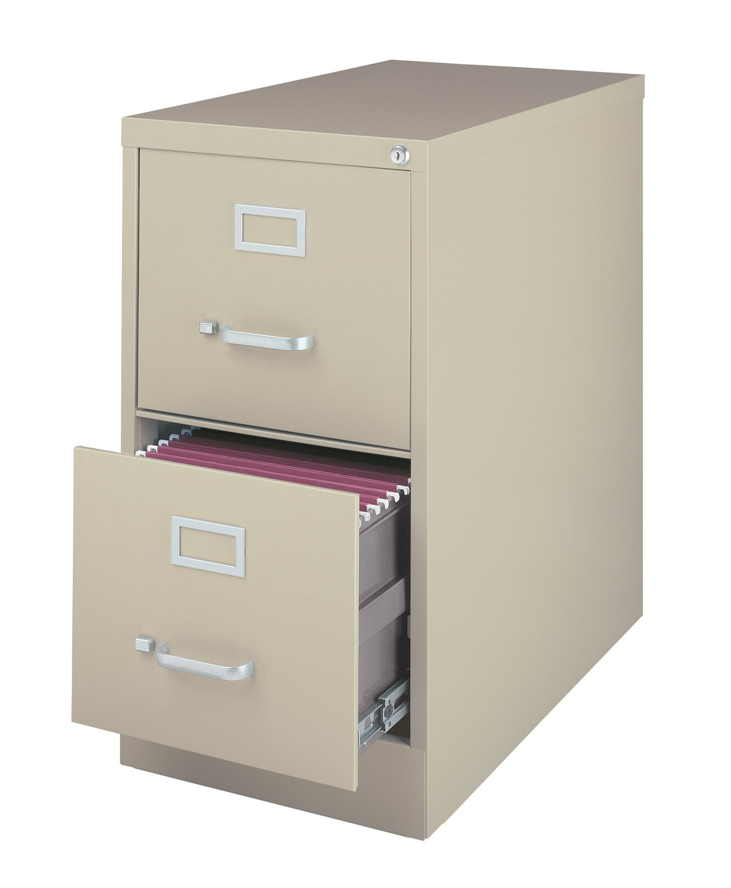 Office Dimensions Commercial Grade 25'' Deep 2 Drawer Letter-Width Vertical File Cabinet, Putty
