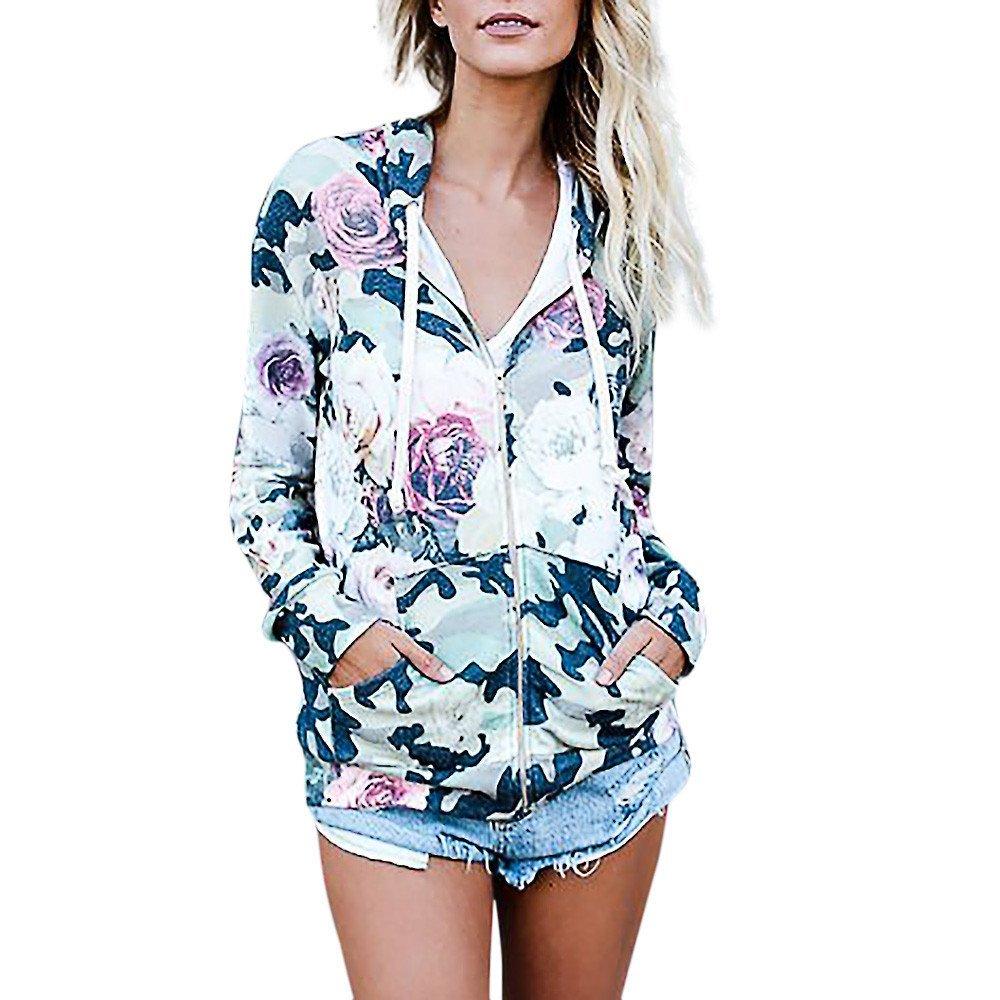 Mandy Fashion Womens Floral Print Top Coat Outwear Sweatshirt Hooded Jacket Overcoat
