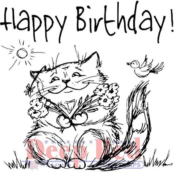 Deep Red de goma se aferran sello feliz cumpleaños Cat ...
