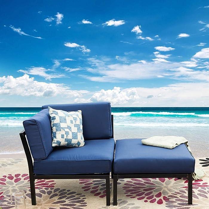 LOKATSE HOME 2 Piece Patio Furniture Set Sectional Balcony Corner Outdoor Loveseat Couch Armchiar Sofa with Ottoman Metal Steel Frame, Blue