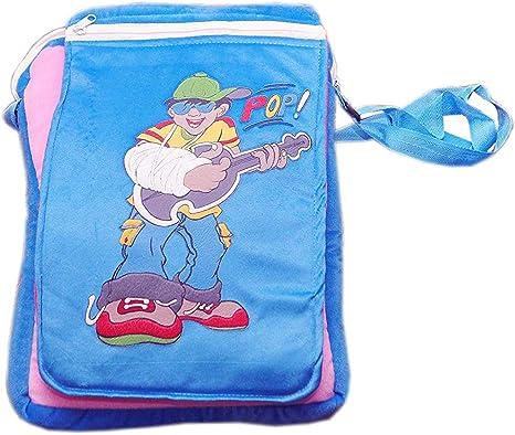 Punyah Creations School Bag Soft Toy Sticker boy Sling & Flap Bag (Blue Pink)