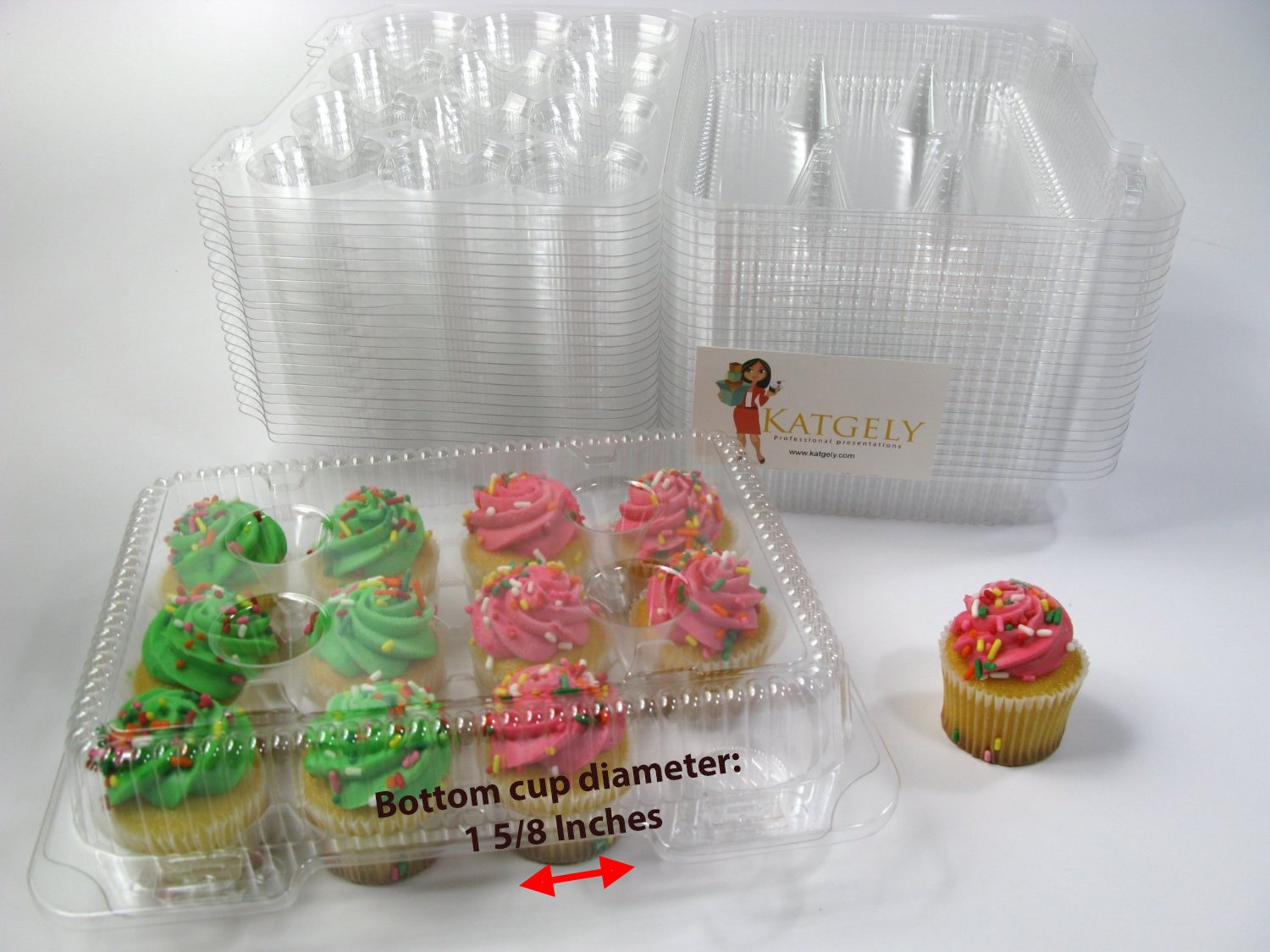 Katgely Mini Cupcake Container for Dozen Mini Cupcakes Pack of 50