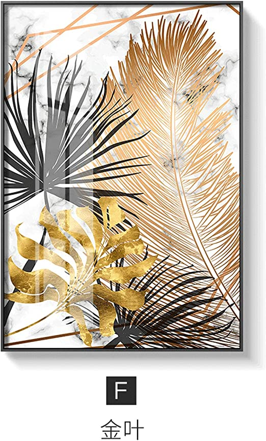 Nordic Plants Golden Leaf Canvas Painting Posters Wall Art Pictures Room Decor