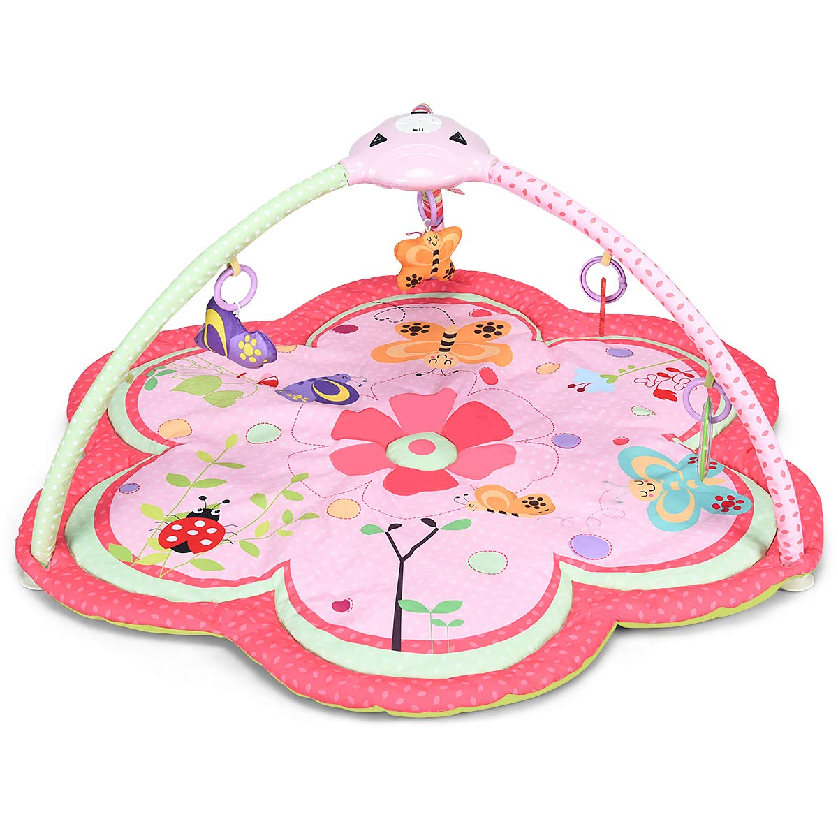 BABY JOY Baby 5-in-1 Nature Exploration Activity Gym Play Mat, Infants Crawling Mat with Music LED Light, 5 Hanging Educational Toys, Exercise Baby s Limbs Explore Hearing Ability Pink
