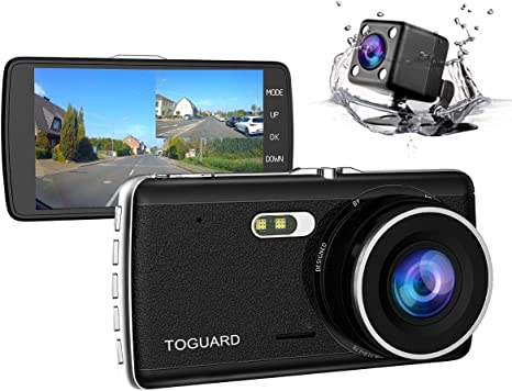 """Schermo 4.0/"""" IPS DASHCAM Grandangolo TOGUARD Telecamera per auto Dash Cam Duplice Obiettivo Full HD 1080P Con Telecamera Posteriore Auto Impermeabile"""