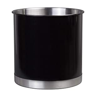 "Creative Home 50299 Heavy Gauge Stainless Steel Tool Crock Utensil Flatware Holder, Large, 7"" Diam. x 7"" H, Black"