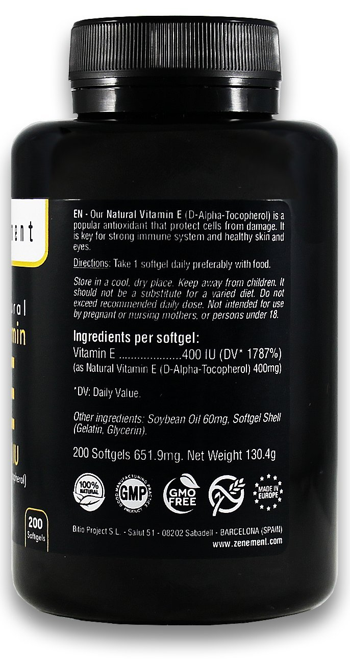 Amazon.com: Natural Vitamin E - 400 IU (D-Alpha-Tocopherol) | 200 Softgels: More Than 6 Month Supply | Antioxidant That Protect Cells from Damage | Non-GMO ...