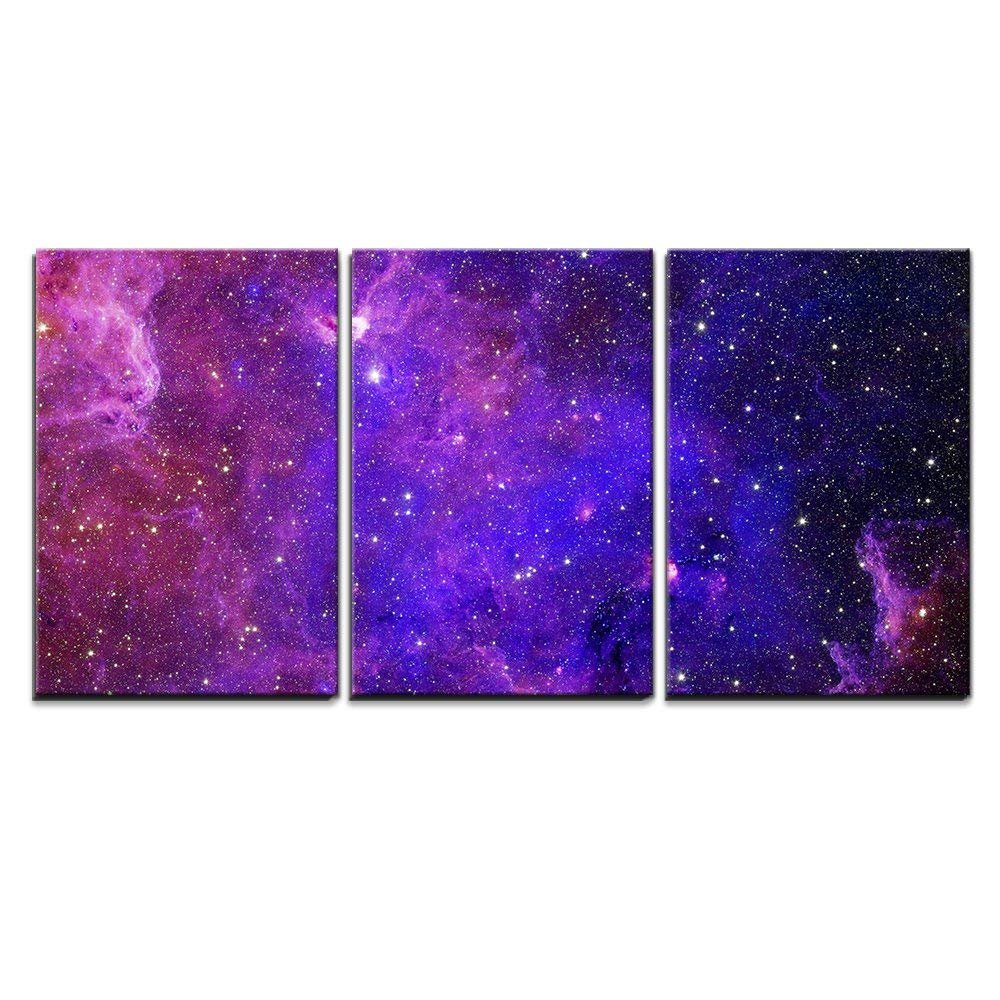 3 Piece Canvas Wall Art - Galaxy Stars. Abstract Space Background. Elements of This Image Furnished by NASA - Modern Home Art Stretched and Framed Ready to Hang - 16