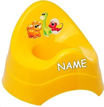 alles-meine.de GmbH T/öpfchen // Nachttopf // Babytopf mit gro/ßer Lehne Name Dinosaurier rot /_ Tiere Babyt/öpfchen // Kindertopf // Lernt/ö.. Dino /_ inkl Bieco Spritzschutz