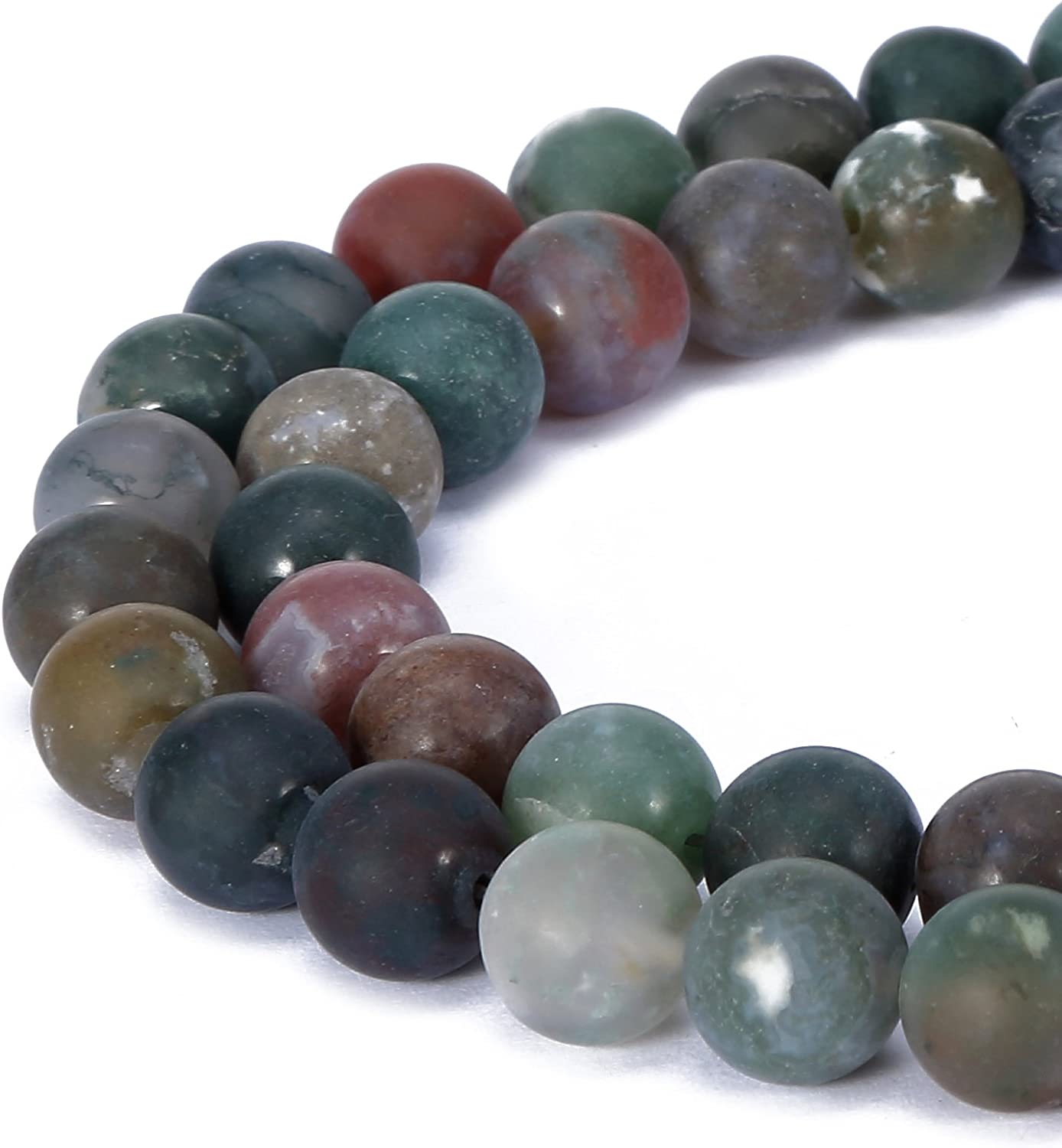 BRCbeads Chinese Turquoise Natural Gemstone Loose Beads 10mm Matte Round Crystal Energy Stone Healing Power for Jewelry Making Dark Green