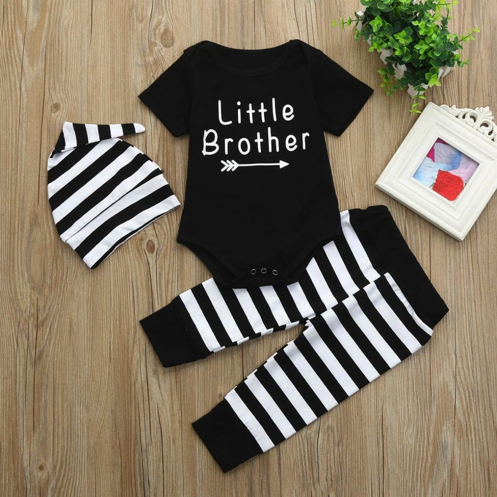 DIGOOD for 0-18 Months,Toddler Baby Boys Letter T-Shirt Tops+Stripe Print Pants+Hat,2Pcs Fashion Outfits Clothes Sets