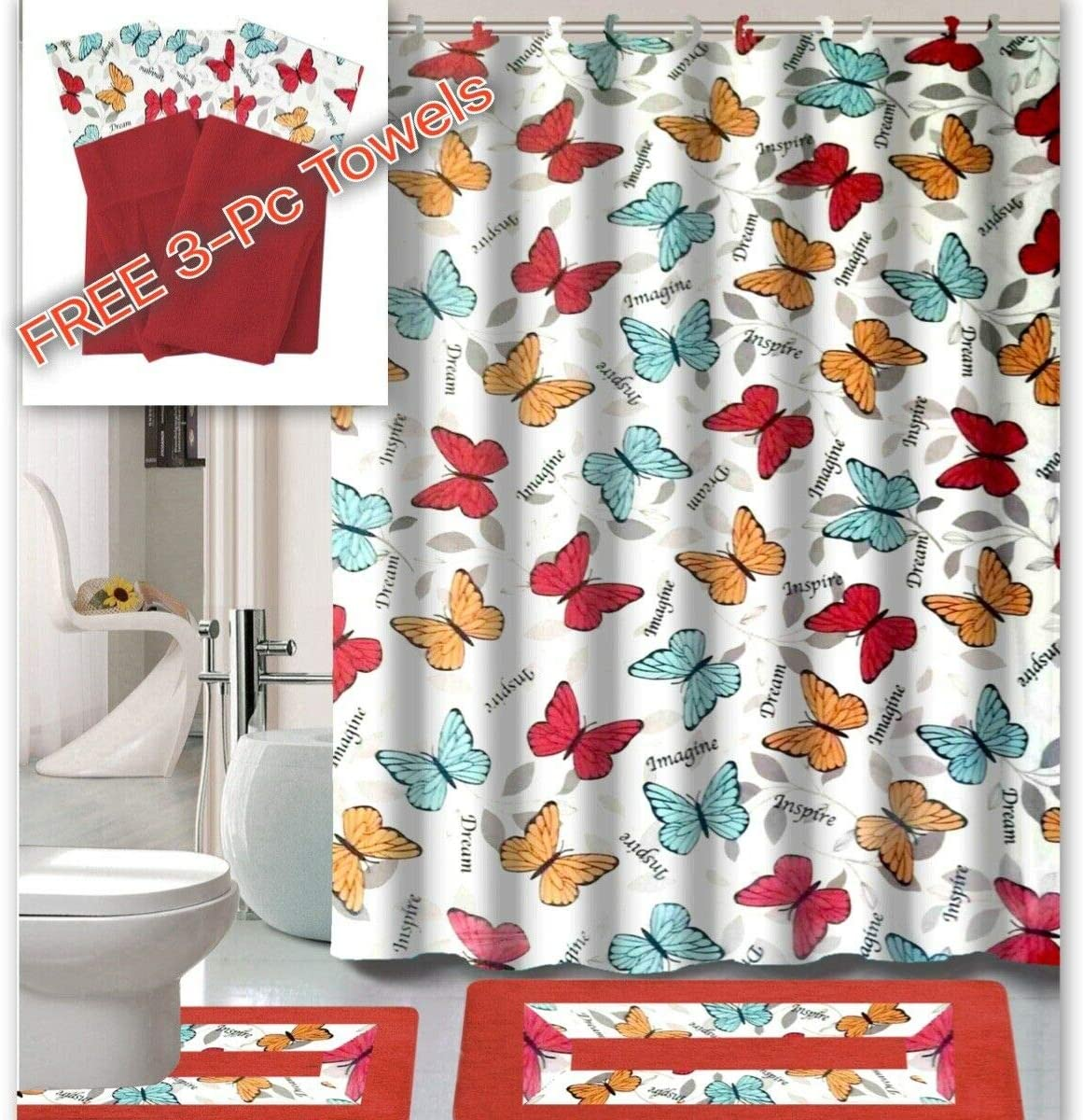 Empire Home 5 Piece Elegant Bathroom Set Bath Rugs Shower Curtain Hooks +  Free 5 Piece Towel Set (Butterfly Red)
