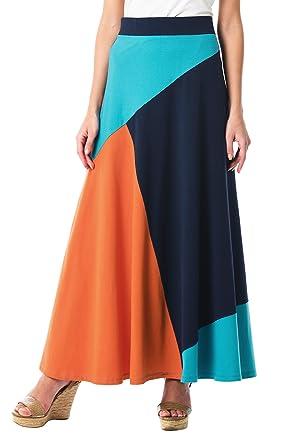 60s Skirts | 70s Hippie Skirts eShakti Womens Colorblock Cotton Knit Flared Skirt $64.95 AT vintagedancer.com