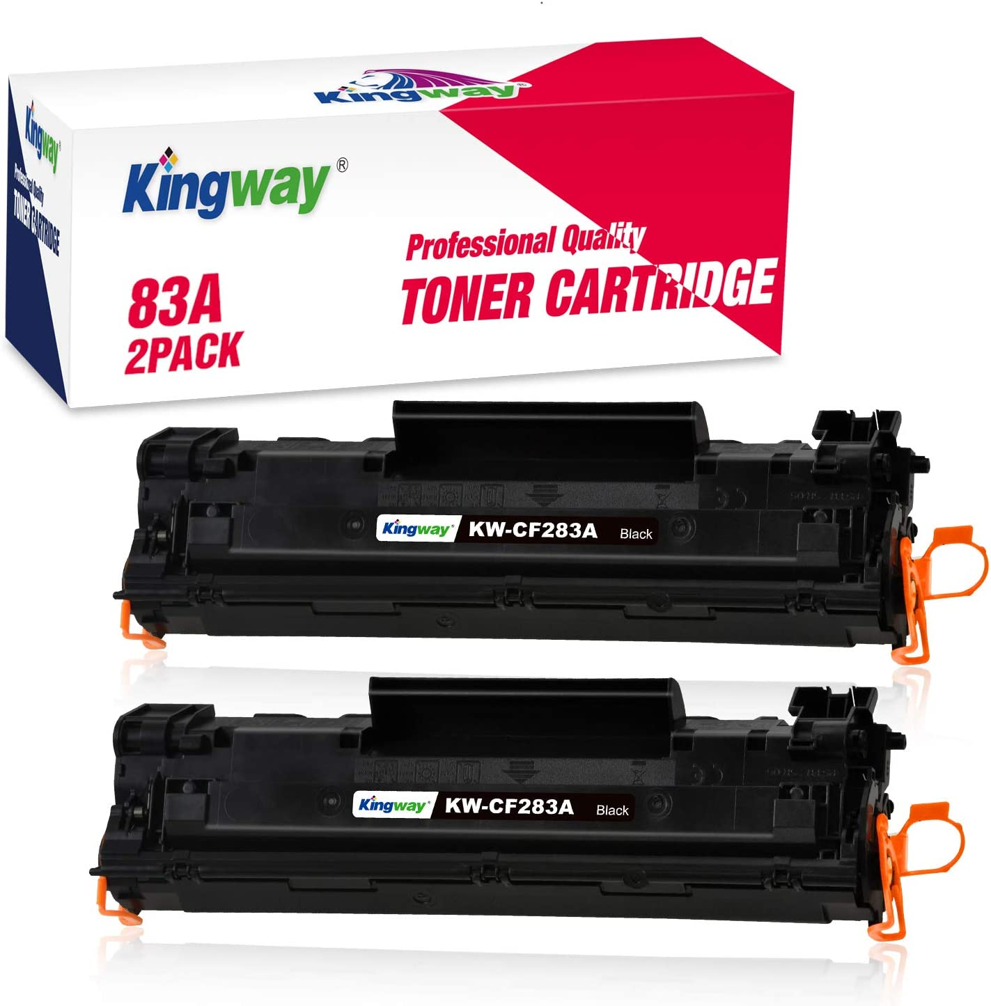 Kingway Compatible CF283A Toner Cartridge Replacement for HP 83A CF283A Black Toner Cartridges Work with HP Laserjet Pro MFP M127fn M127fw M201dw M125nw M225dw M225dn Printers (2 Pack)