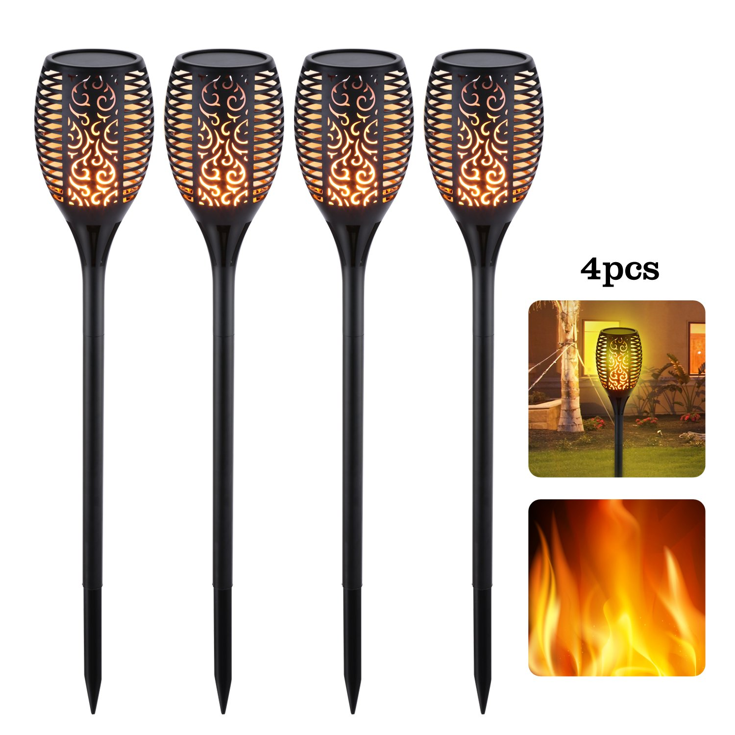 Solar Torch Lights - Waterproof Landscape Lighting - Outdoor Garden Light - LED Dancing Flame Exterior Lights Set - Decorative Battery Operated Fixtures|Patio Porch Deck & Driveway Lights - 4-Pack