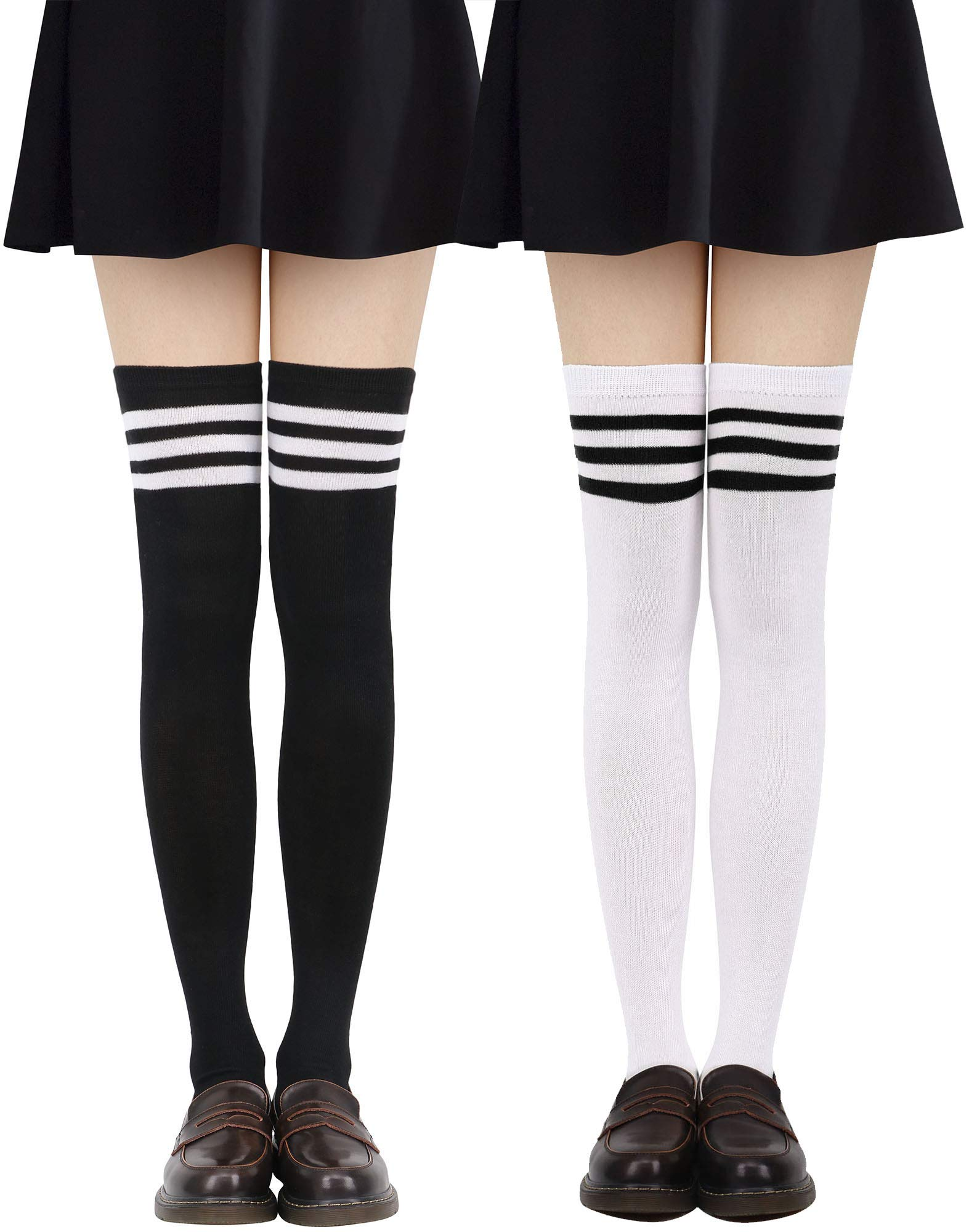 Jasmine Tube Socks Women's Retro Striped Long Knee High Socks Thigh High Stockings