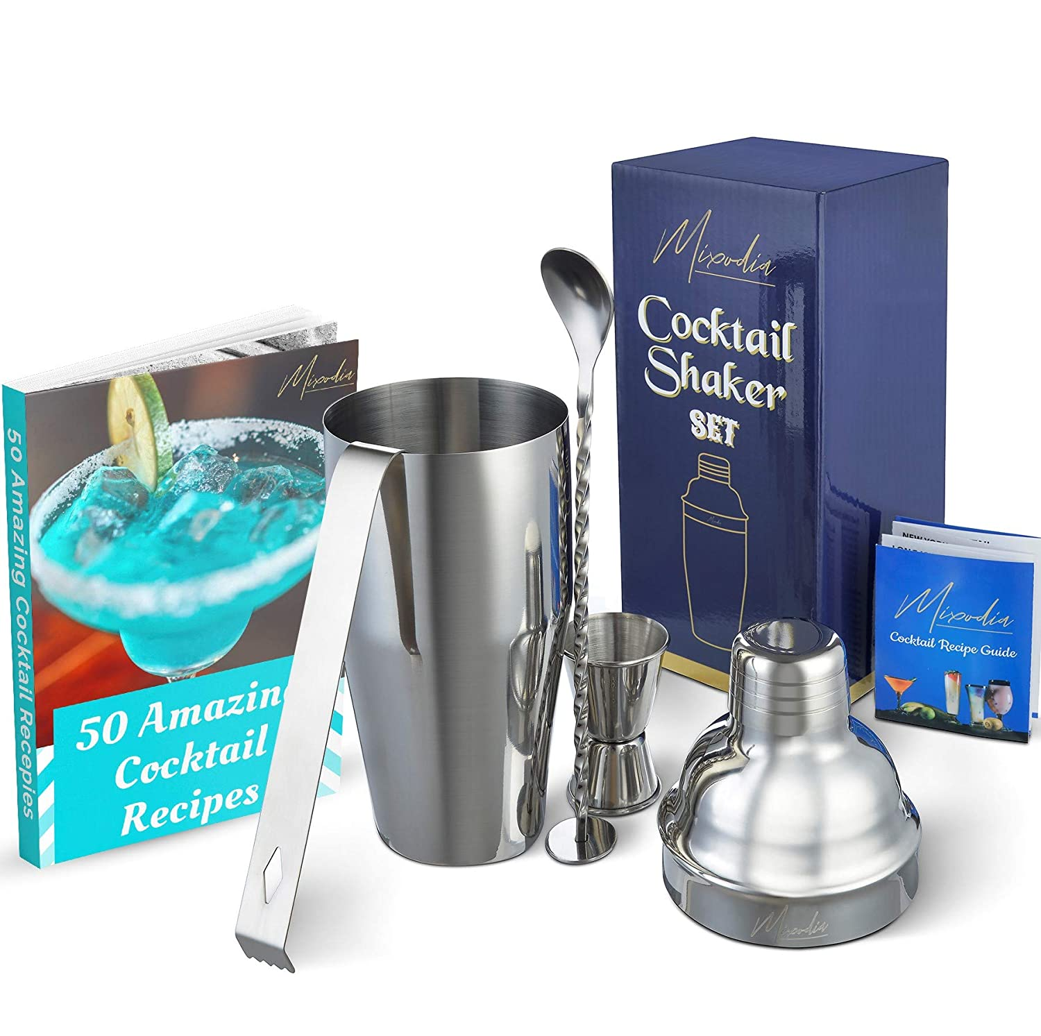 Cocktail Shaker Bar Tools Set – Premium Bartender Accessories Kit – 24 oz Stainless Steel Built-in Strainer, Measuring Jigger, Mixing Spoon, Bonus Ice Tongs, Drink Recipes Booklet & eBook – Gift Mixodia