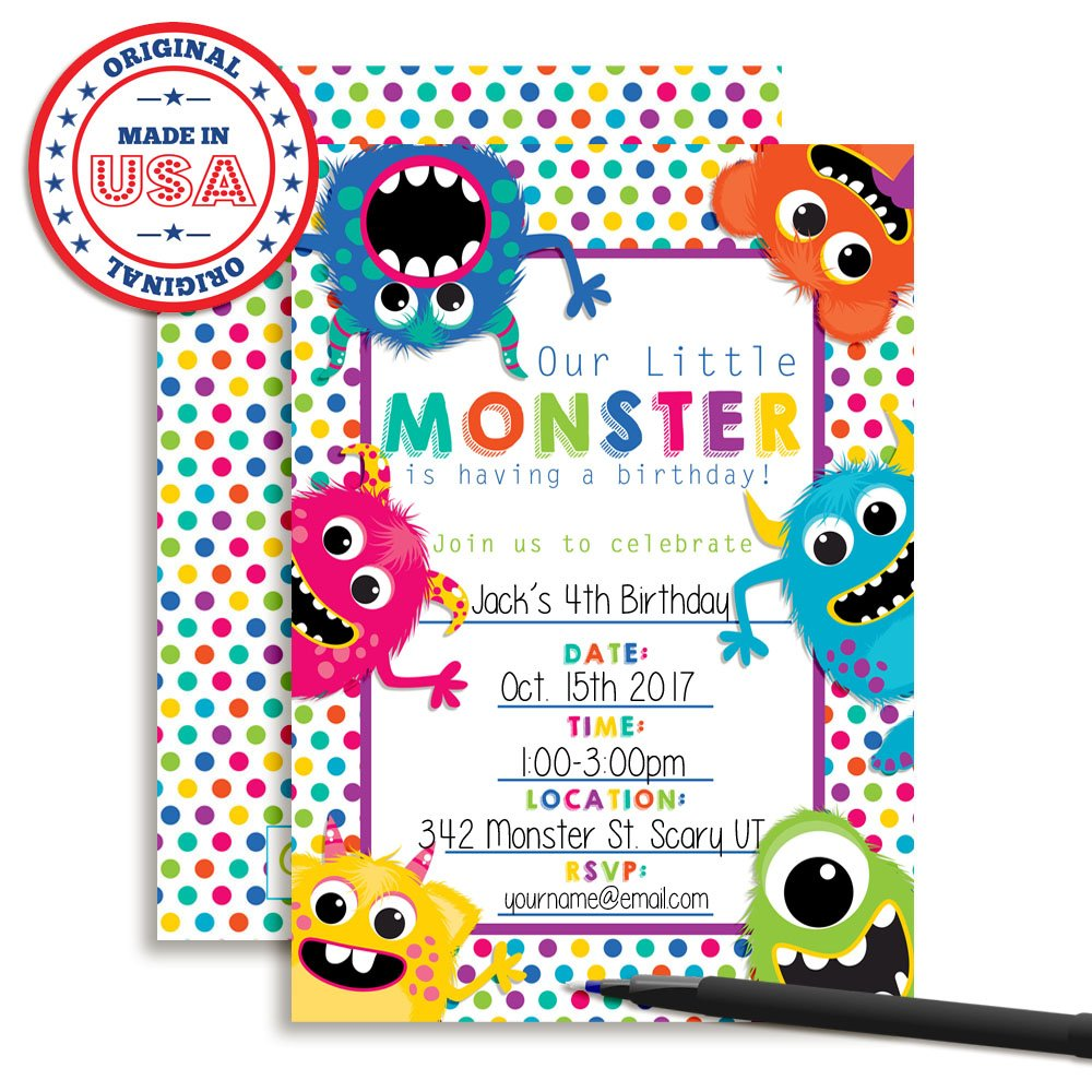 Colorful, Cute & Friendly Monsters Birthday Party Invitations, 20 5''x7'' Fill in Cards with Twenty White Envelopes by AmandaCreation by Amanda Creation (Image #3)