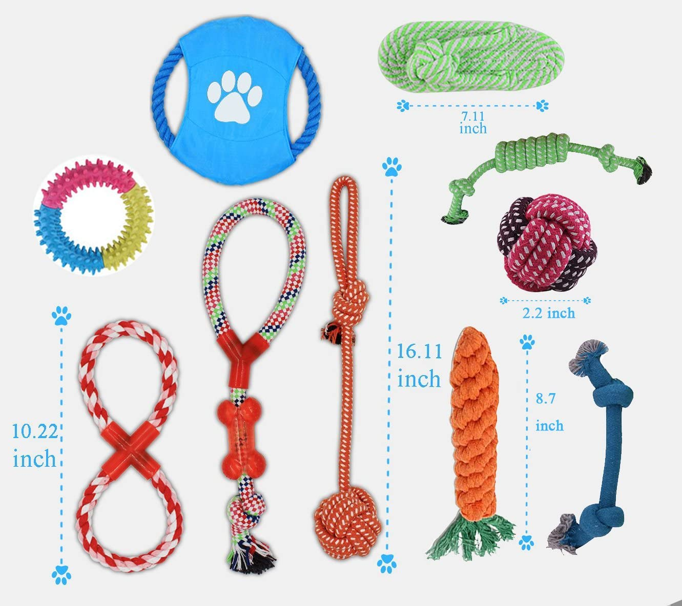 Adoya Dog Rope Toys 10 Pack Puppy Teething Chew Toy for Large Medium Small Dogs Breeds Dog Toy Gift Set