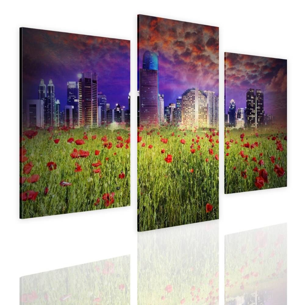 Alonline Art - Fantasy Urban Life by Split 3 Panels | framed stretched canvas on a ready to hang frame - 100% cotton - gallery wrapped | 39''x26'' - 99x66cm | Wall art home decor for office HD picture by Alonline Art