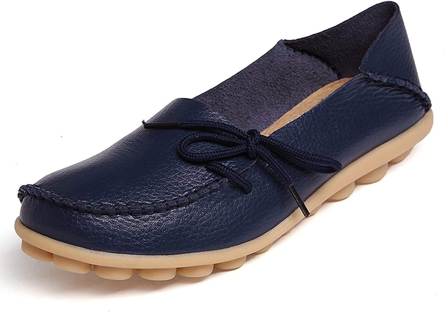 WenHong Womens Driving Shoes Cowhide Leather Lace-Up Loafers Boat Shoes Flats