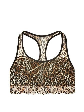65828cde29 Victoria s Secret PINK Unlined Floral Lace Crop Leopard Print (X-Small)