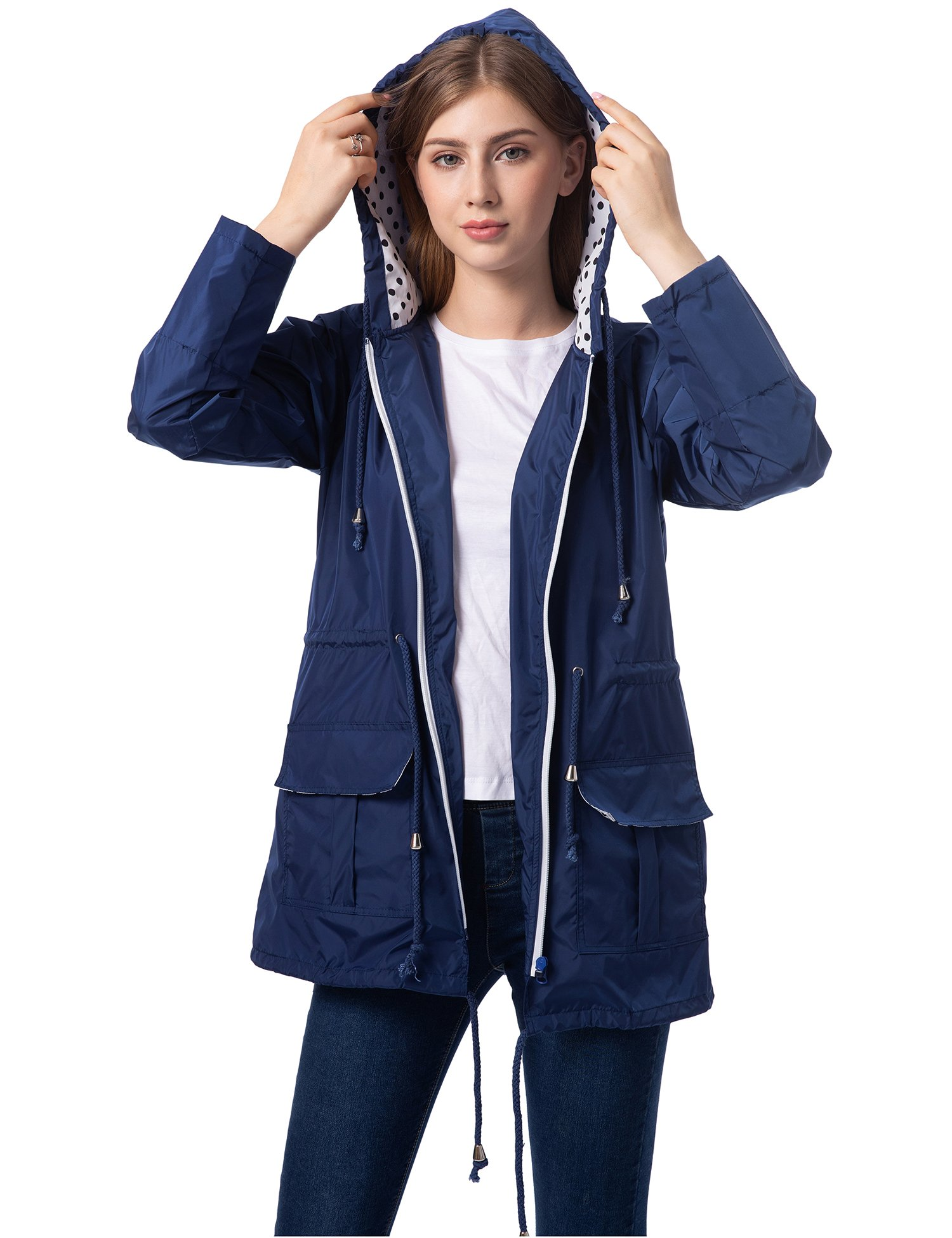 Romanstii Travel Raincoat Women Waterproof Casual Jackets with Hood Hiking Sports Navy Blue XL
