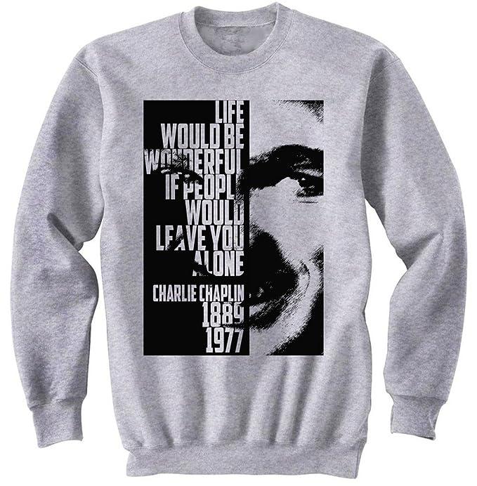teesquare1st Charlie Chaplin Life Quote Gris Sudadera: Amazon.es: Ropa y accesorios