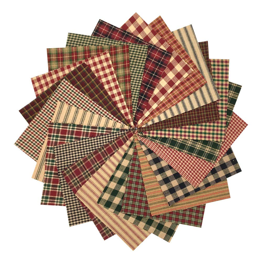 40 Rustic Christmas Charm Pack, 5 inch Precut Cotton Homespun Fabric Squares by JCS Jubilee Creative Studio