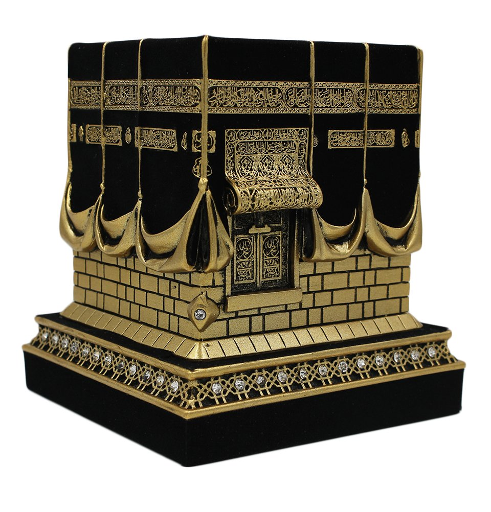 Islamic Home Table Decor Kaba Replica Model Showpiece Bookend Eid Gift (Small, Gold)