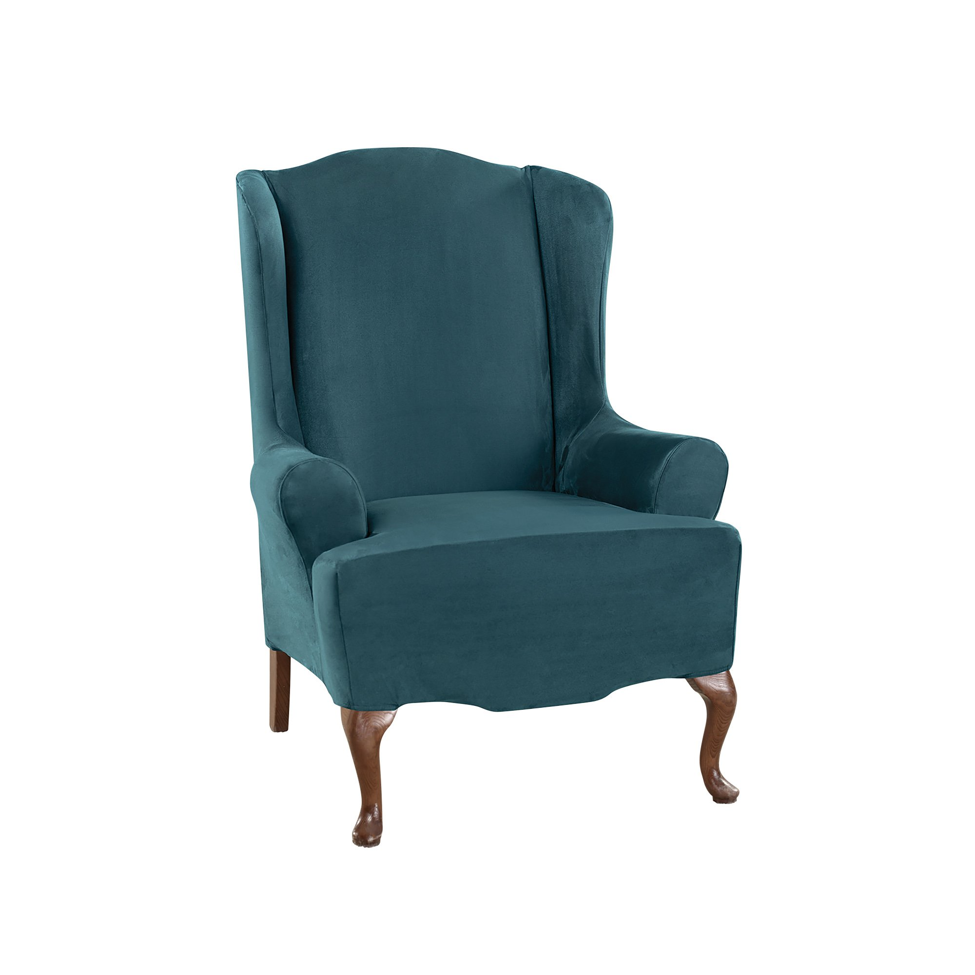 Sure Fit Ultimate Heavyweight Stretch Suede Wing Chair Slipcover (Peacock Blue, Wing Chair)