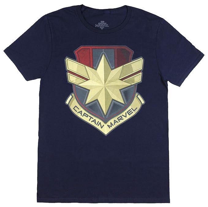 521b656da Captain Marvel Shirt Adult Graphic Logo Shield Design Short Sleeve T-Shirt  for Men (
