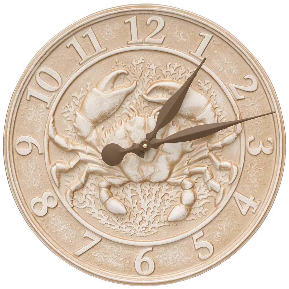 SKB family Patio Clock - Crab Sea Life, 16'' x 16'' x 1'' x 4.5 lbs, Limestone