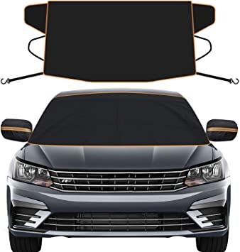 Upgrade 4-Layers Protection Windshield Snow Cover for Frost Waterproof Windshield Sunshades for Most Cars and SUV Snow Windshield Cover with Rearview Mirror Covers Fit for Winter and Summer