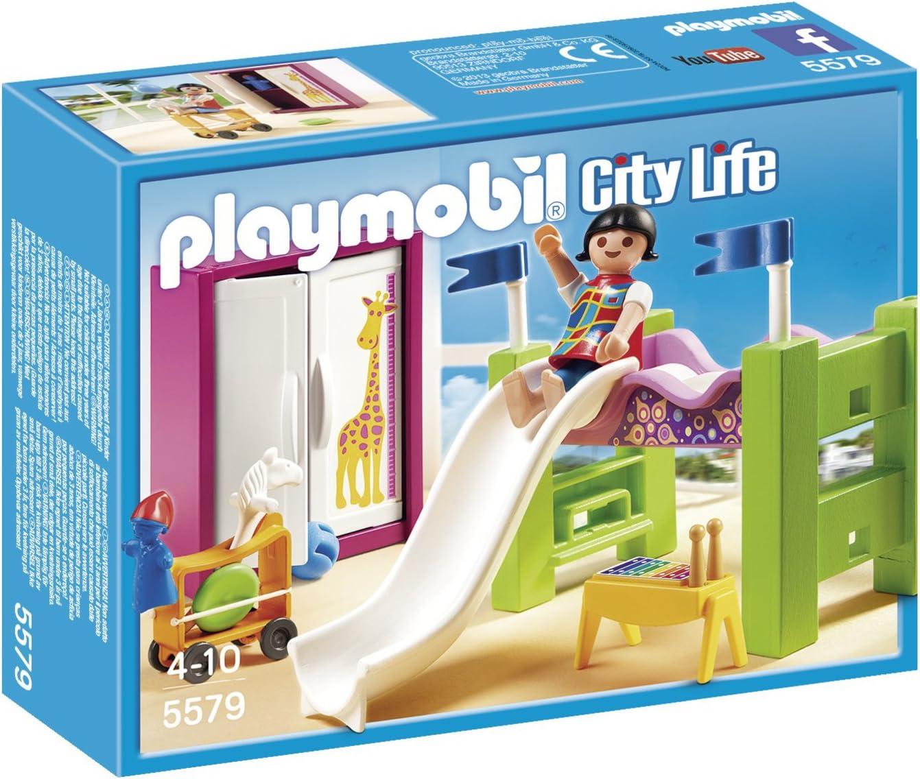 PLAYMOBIL Mansión Moderna Habitación de los niños con litera y tobogán, playset (5579)